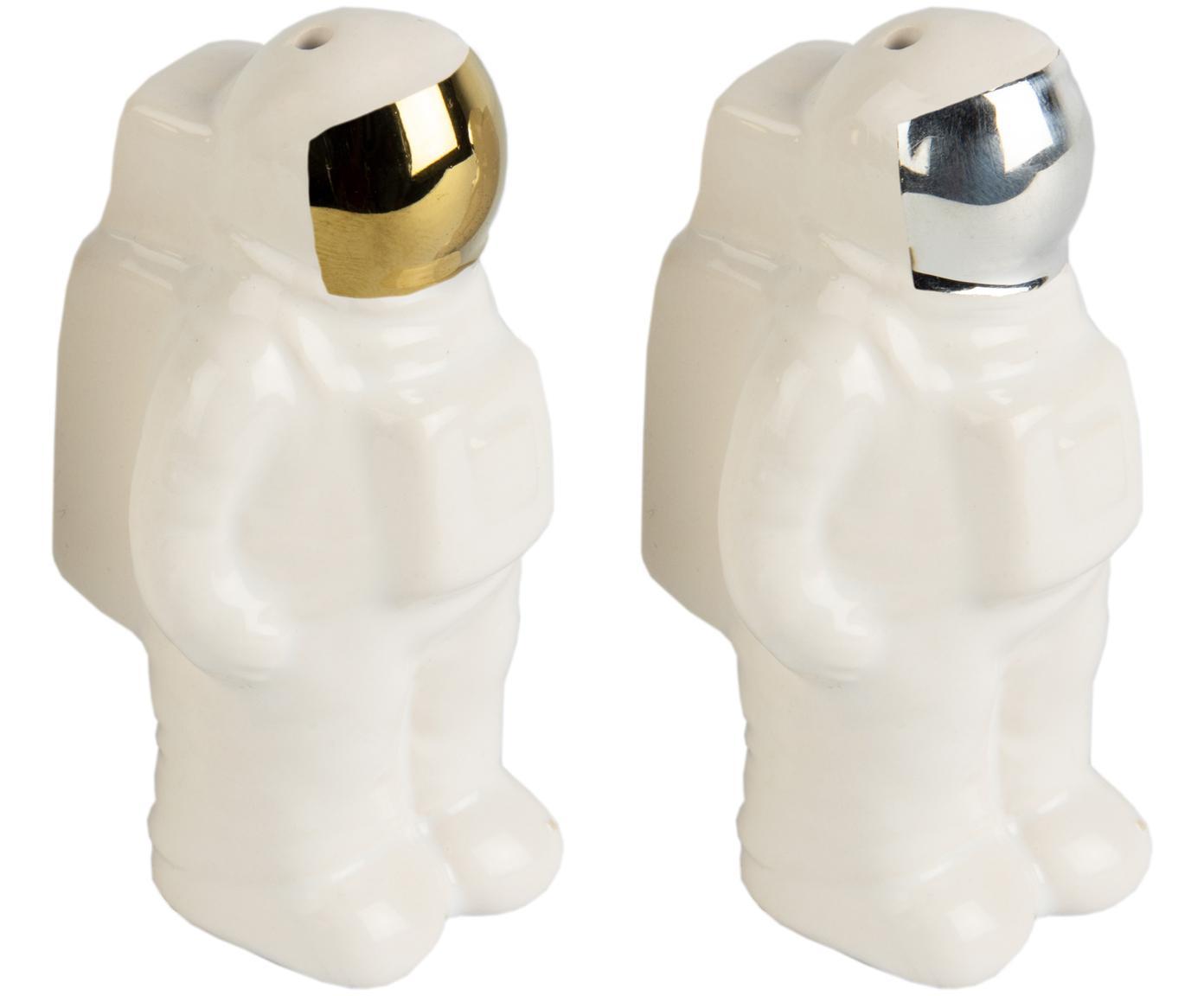 Salz- und Pfefferstreuer Astronaut aus Porzellan in Gold/Silber, 2er-Set, Porzellan, Weiß, Silberfarben, Goldfarben, 6 x 9 cm