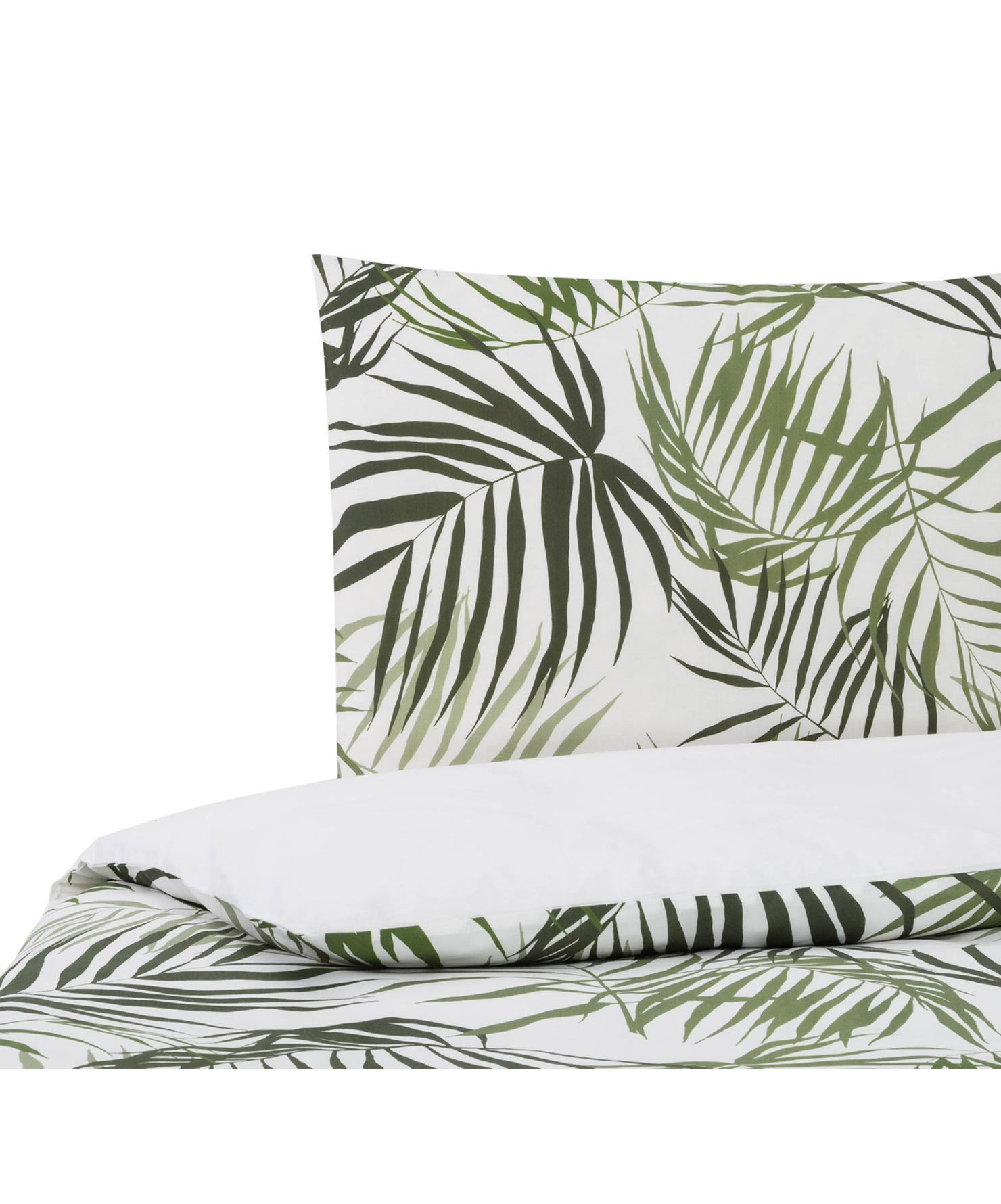 Dubbelzijdig dekbedovertrek Dalor, Katoen, Bovenzijde: groen, wit. Onderzijde: wit, 140 x 200 cm