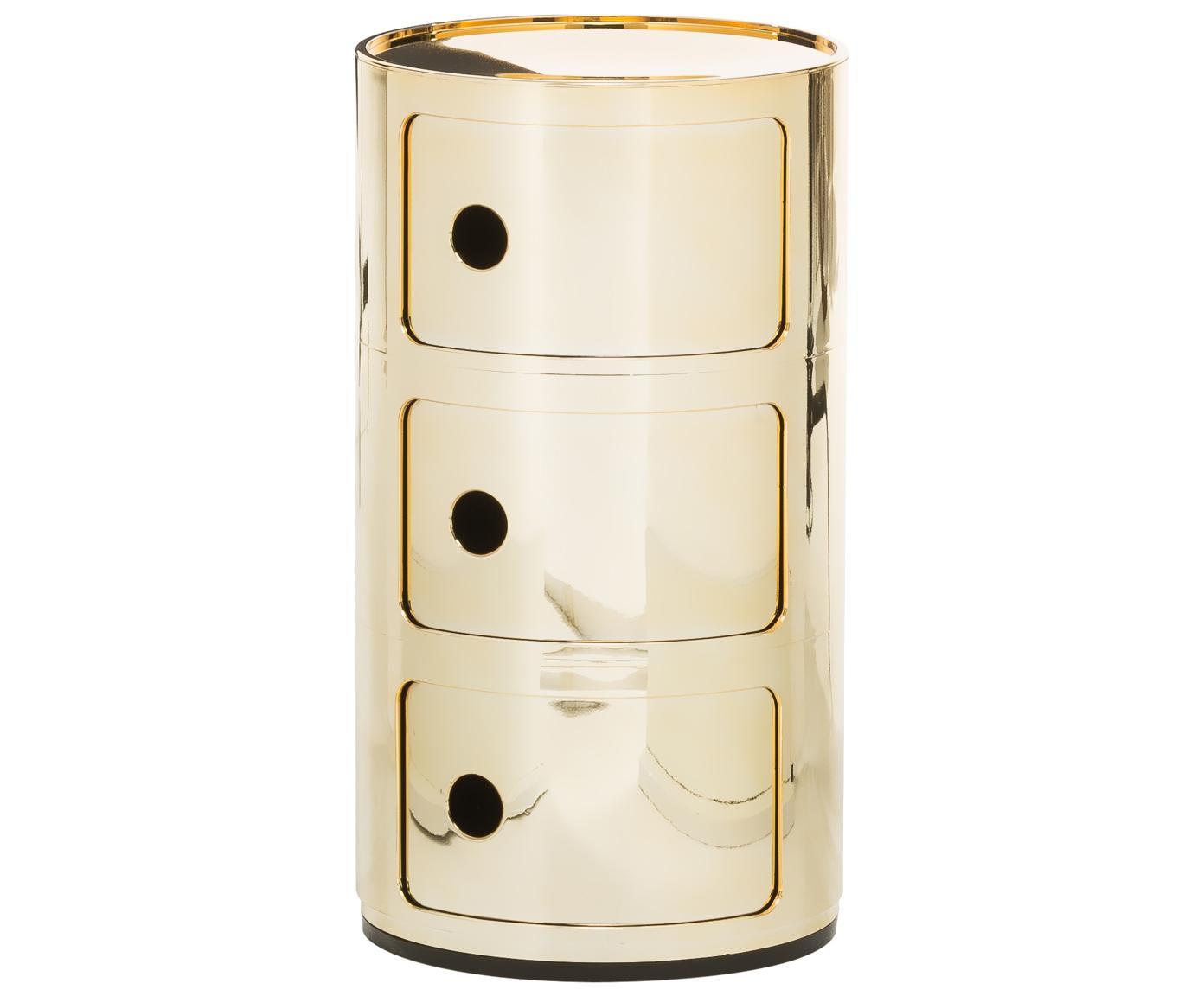 Stolik pomocniczy Componibile, Tworzywo sztuczne, powlekane metalem, Odcienie złotego, Ø 32 x W 59 cm