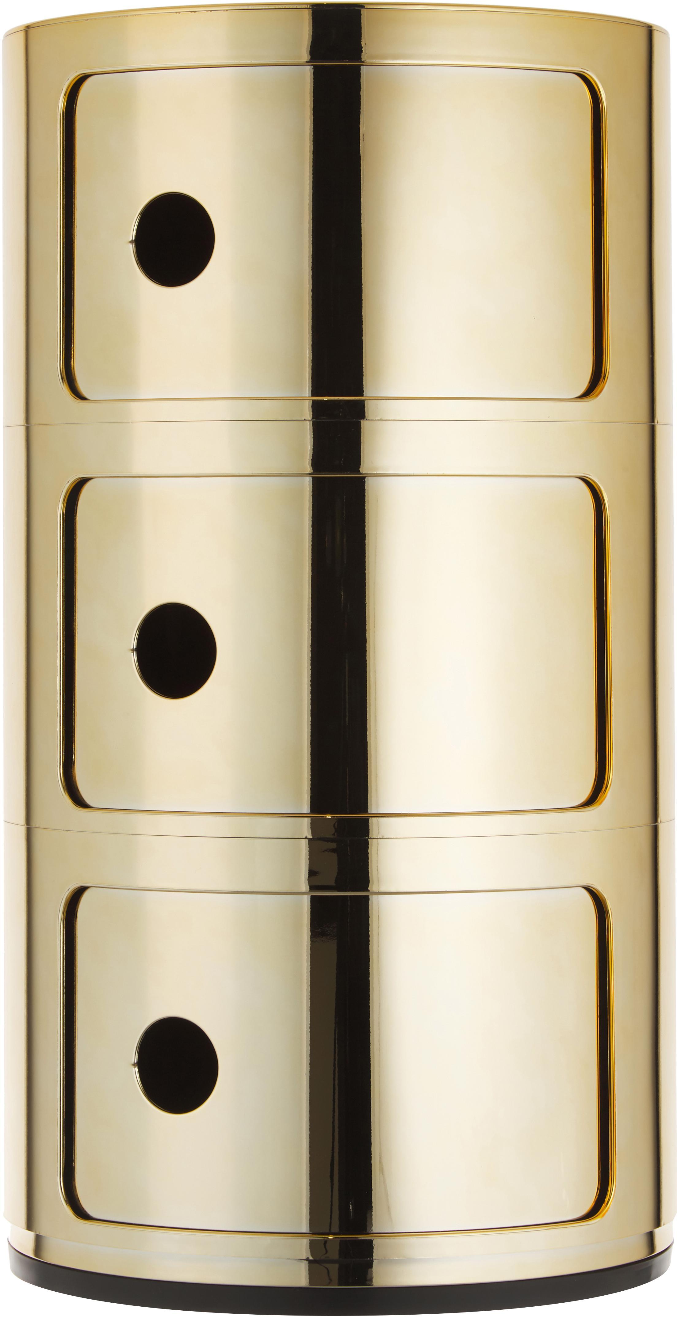 Design Container Componibili 3 Fächer, Kunststoff, metallicbeschichtet, Goldfarben, Ø 32 x H 59 cm