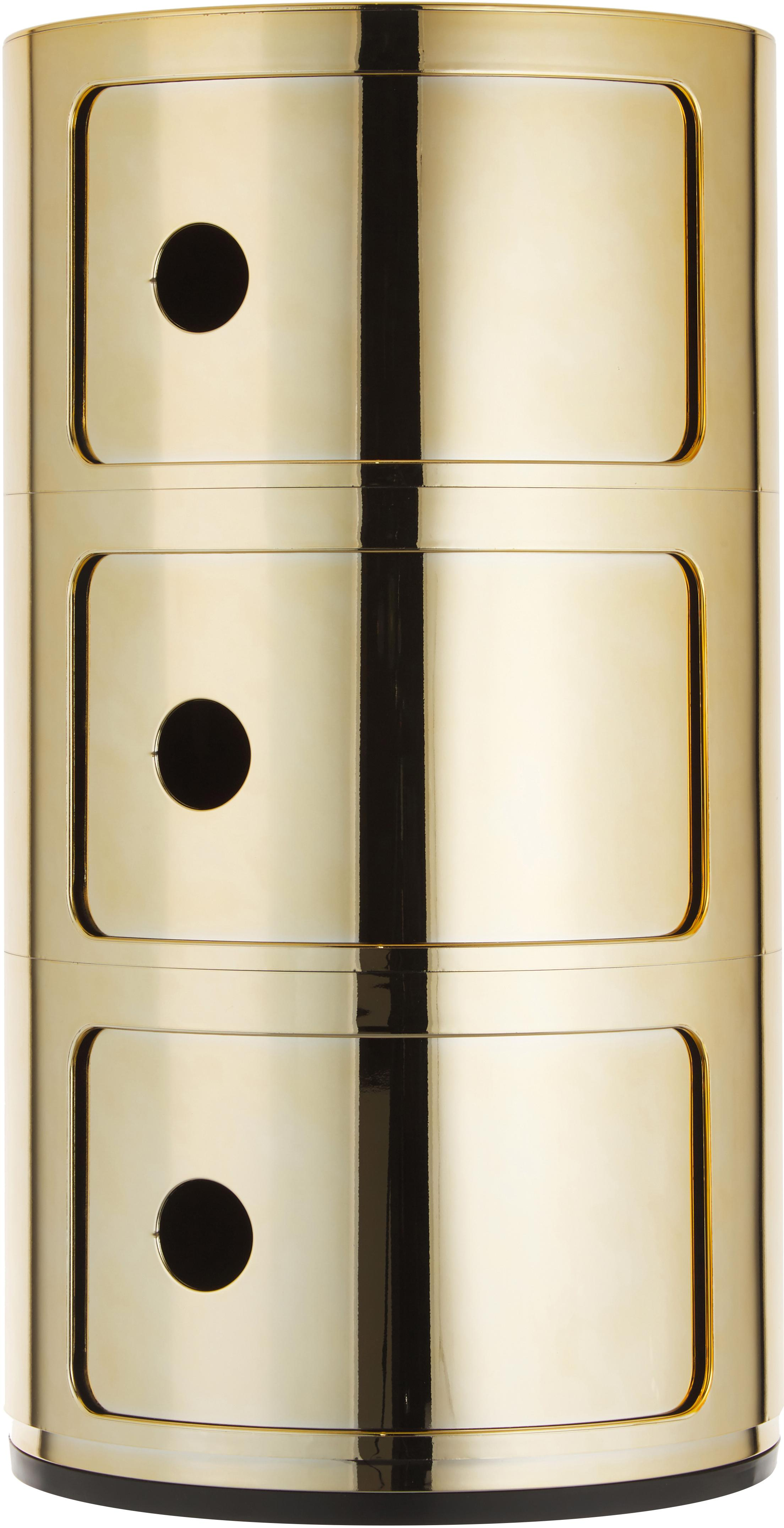 Mesa auxiliar de diseño Componibile, Plástico metalizado, Dorado, Ø 32 x Al 59 cm