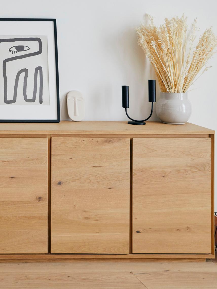 Dressoir Finn met eikenhoutfineer, Frame: MDF met eikenhoutfineer, Eikenhoutkleurig, 217 x 85 cm