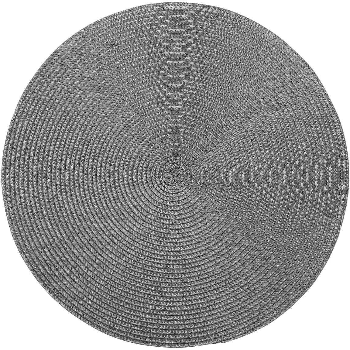 Runde Kunststoff Tischsets Ambiente, 2 Stück, Kunststoff, Dunkelgrau, Ø 38 cm