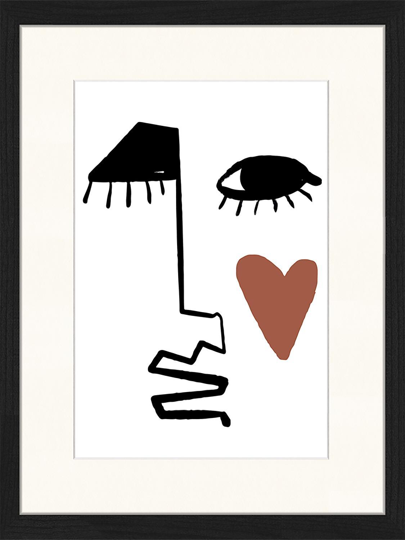 Stampa digitale incorniciata Love Your Face, Immagine: stampa digitale su carta,, Cornice: legno, verniciato, Nero, bianco, rosso marrone, Larg. 33 x Alt. 43 cm