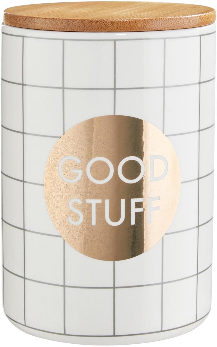 Aufbewahrungsdose Good Stuff, Dose: Dolomit, Deckel: Bambus, Silikon, Weiß, Ø 12 x H 16 cm