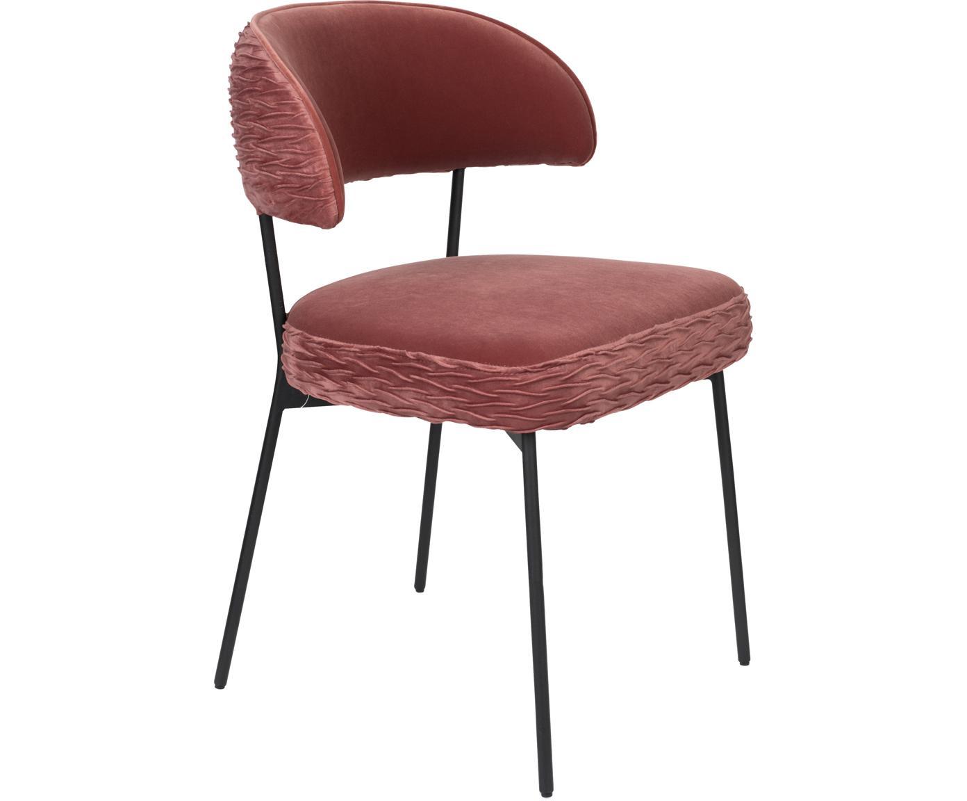 Krzesło tapicerowane z aksamitu The Winner Takes It All, Tapicerka: aksamit poliestrowy 3000, Stelaż: metal malowany proszkowo, Różowy, S 57 x G 56 cm