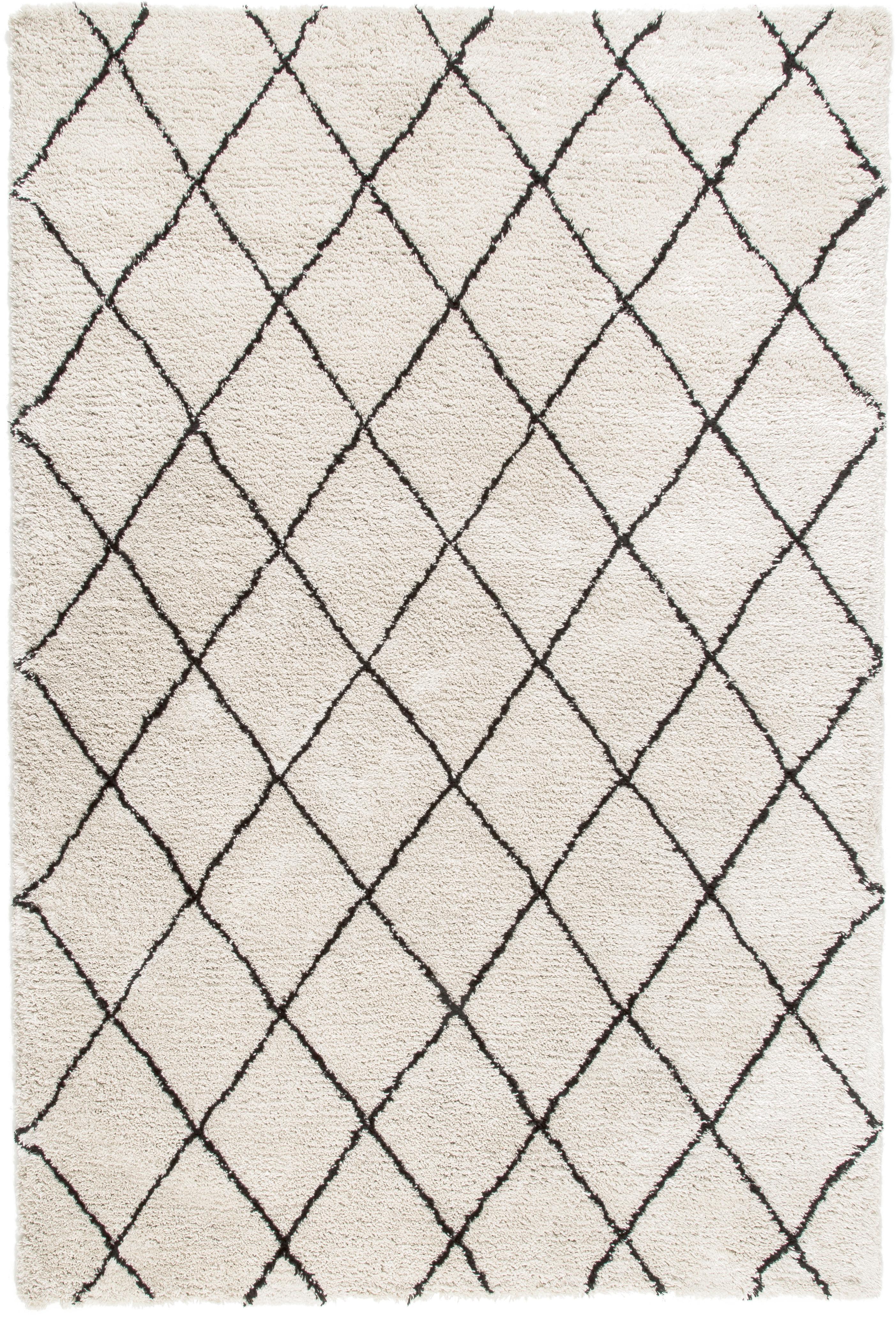 Flauschiger Hochflor-Teppich Naima, handgetuftet, Flor: 100% Polyester, Beige, Schwarz, B 200 x L 300 cm (Grösse L)