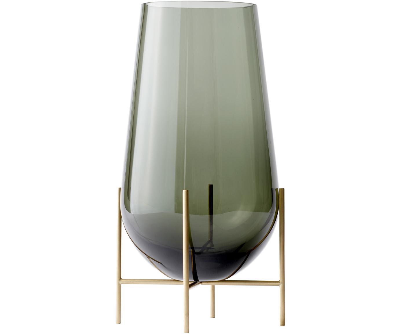 Mondgeblazen vloervaas Échasse, Frame: messing, Vaas: mondgeblazen glas, Messingkleurig, grijs, Ø 20 x H 60 cm