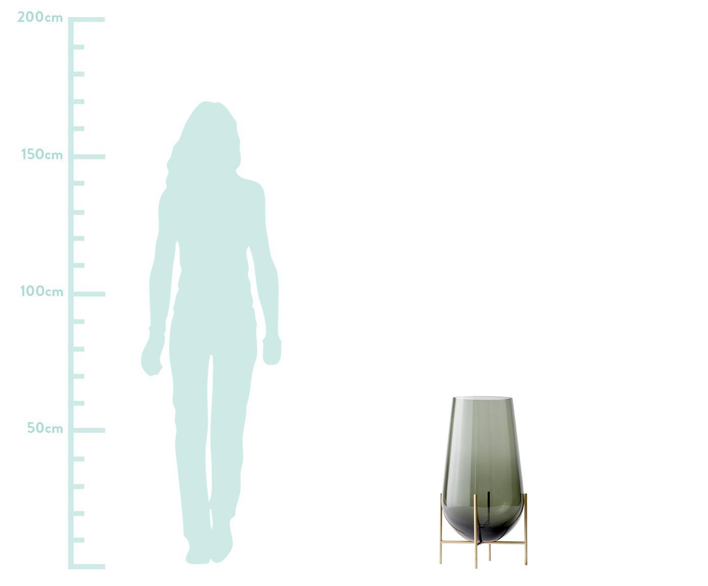 Wazon podłogowy ze szkła dmuchanego Échasse, Stelaż: mosiądz, Odcienie mosiądzu, szary, Ø 30 x W 60 cm