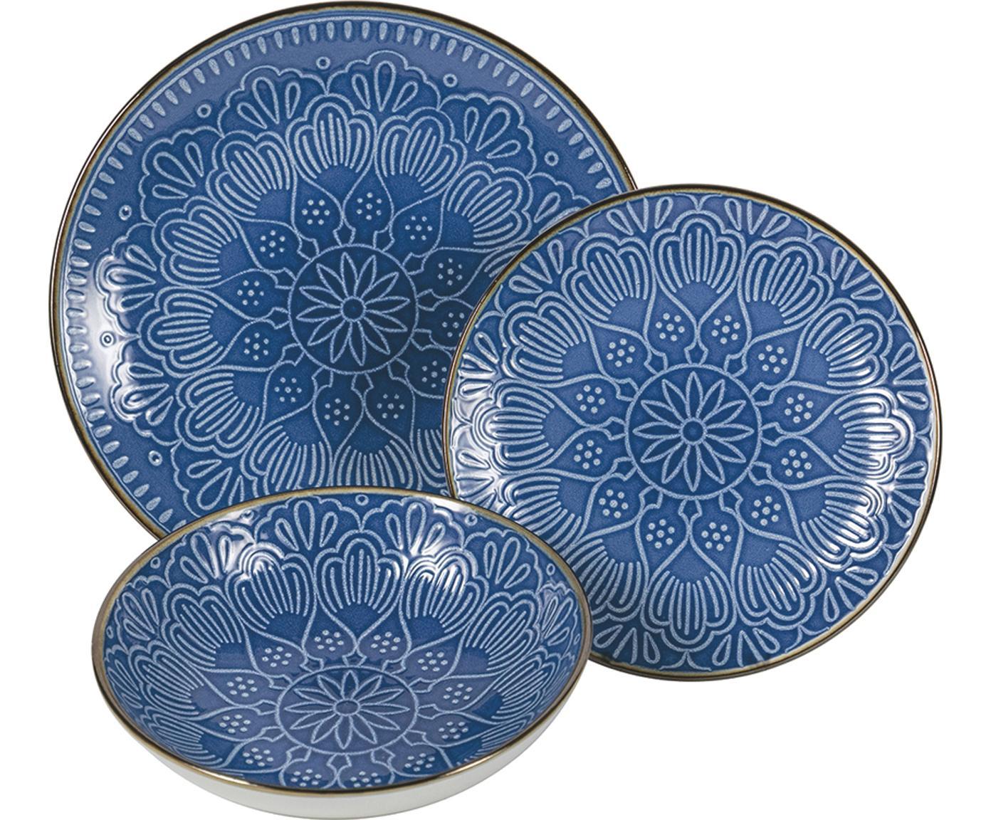 Set piatti Baku, 6 persone (18 pezzi), Dolomite, Blu, Diverse dimensioni