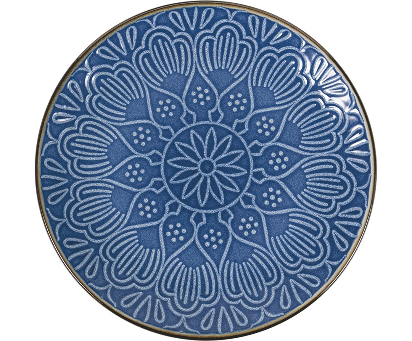 Geschirr-Set Baku mit Ornament-Relief, 6 Personen (18-tlg.), Keramik, Blau, Sondergrößen