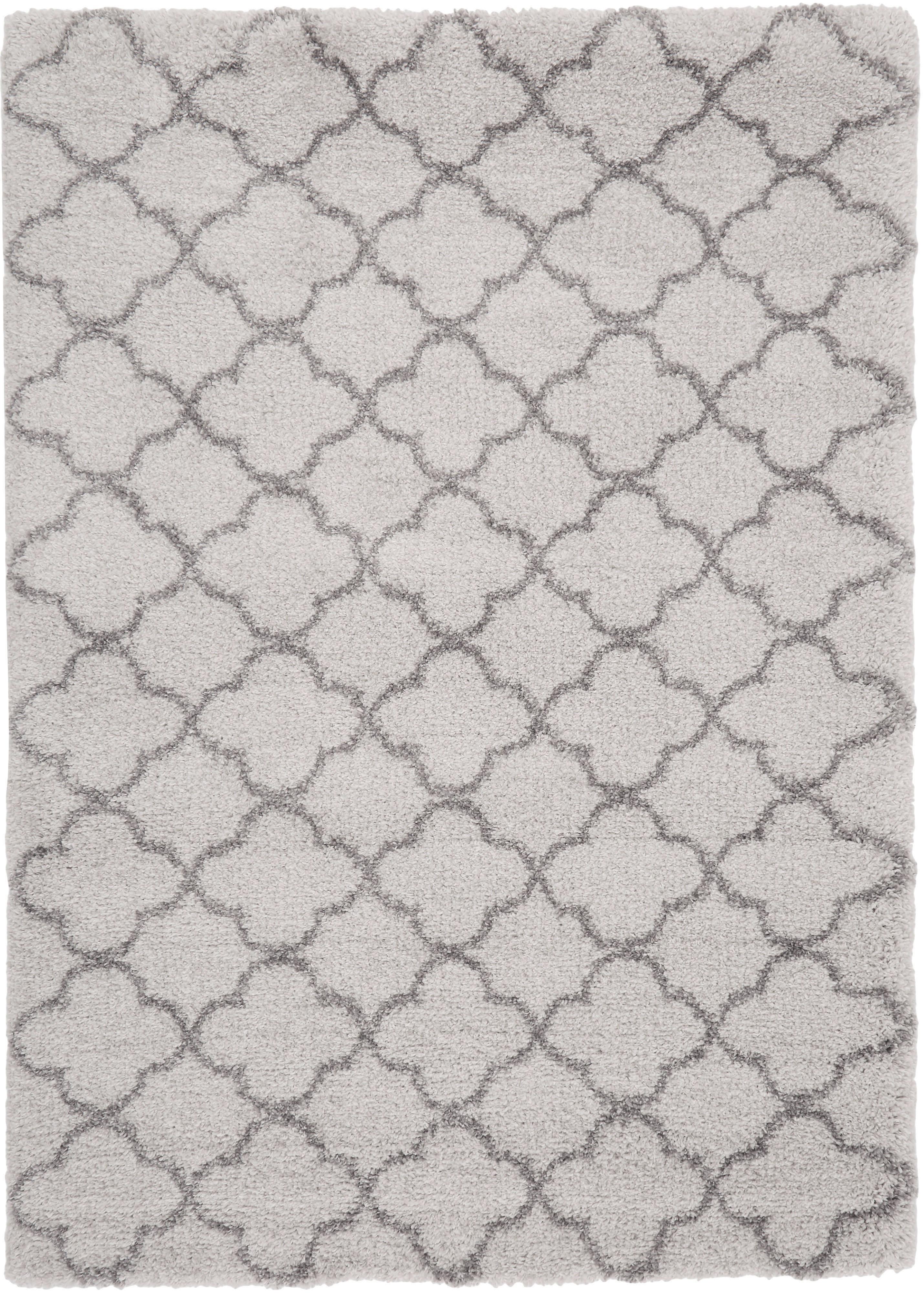 Hoogpolig vloerkleed Grace in roze/crème kleur, Bovenzijde: polypropyleen, Onderzijde: jute, Crèmekleurig, grijs, 120 x 170 cm