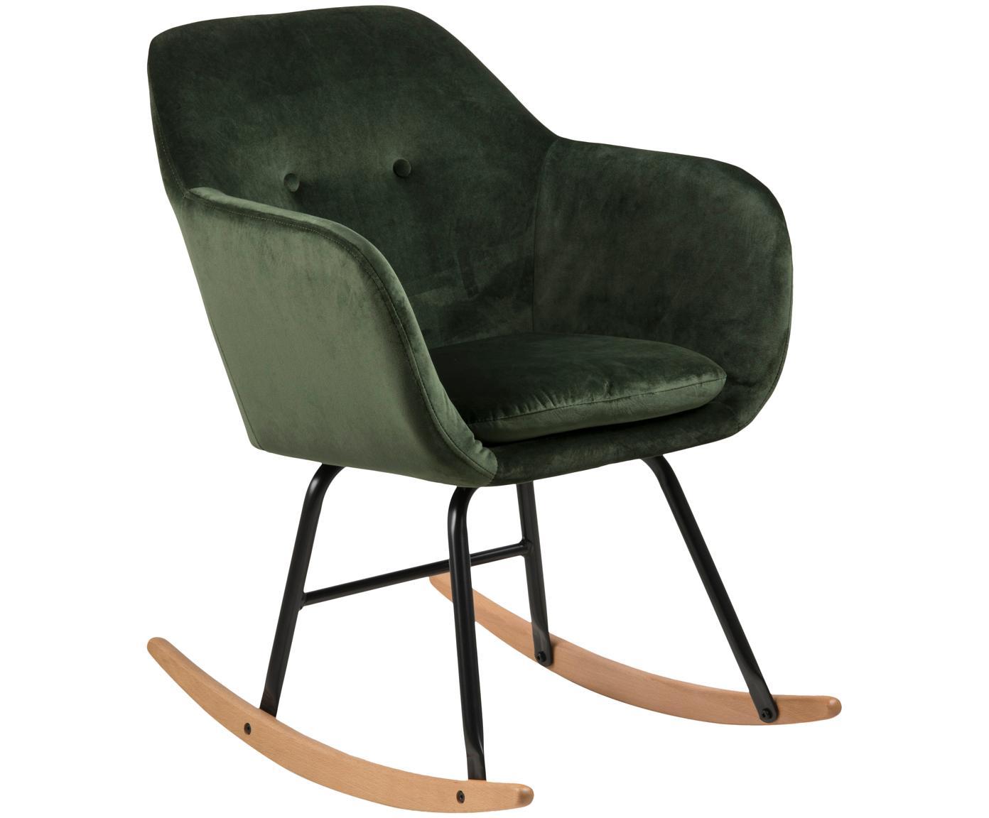 Fotel bujany  z aksamitu Emilia, Tapicerka: poliester (aksamit) Tkani, Nogi: metal malowany proszkowo, Aksamitny zielony, S 57 x W 81 cm