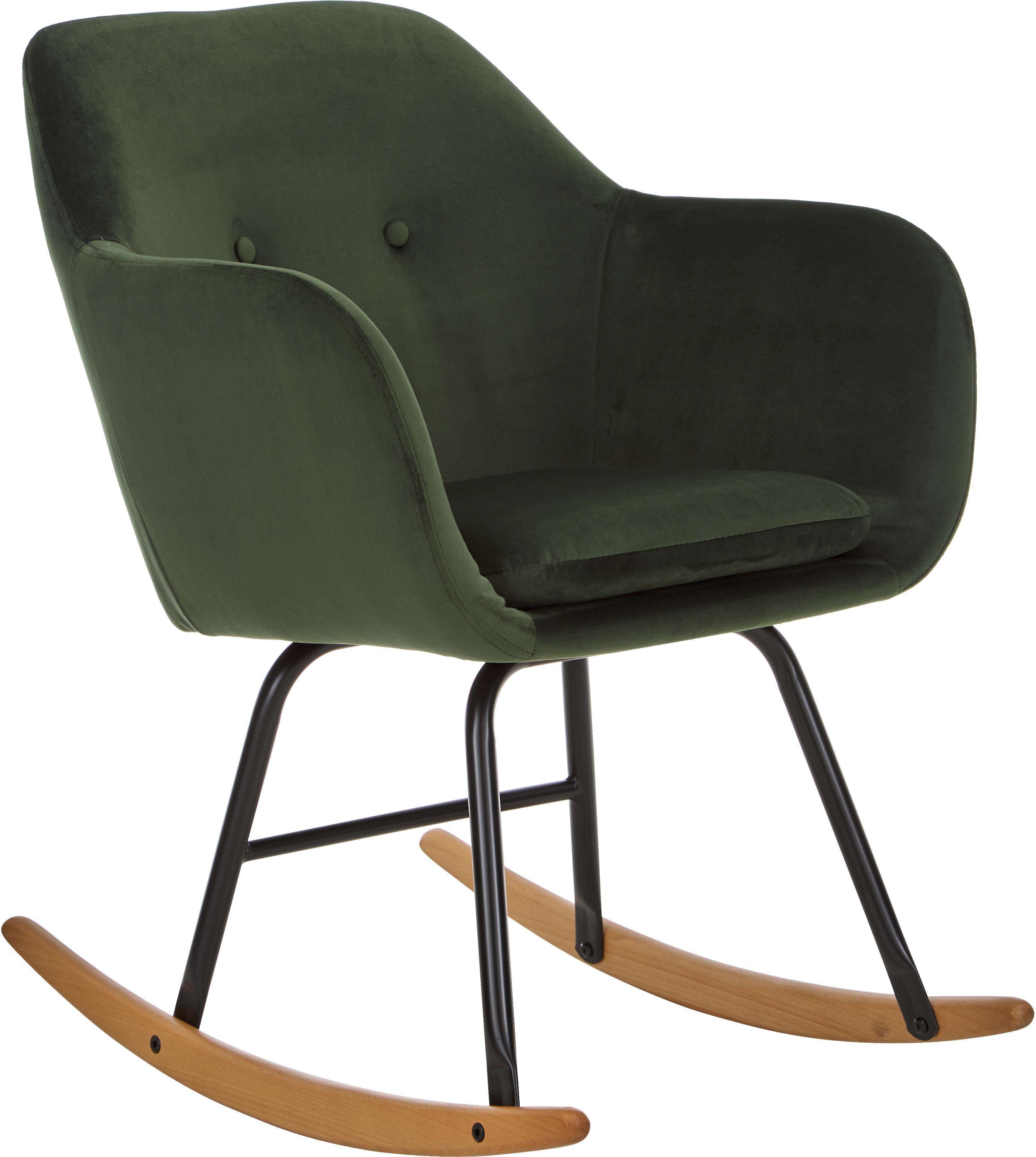Fluwelen schommelstoel Emilia in groen, Bekleding: polyester (fluweel), Poten: gepoedercoat metaal, Fluweel groen, 57 x 81 cm