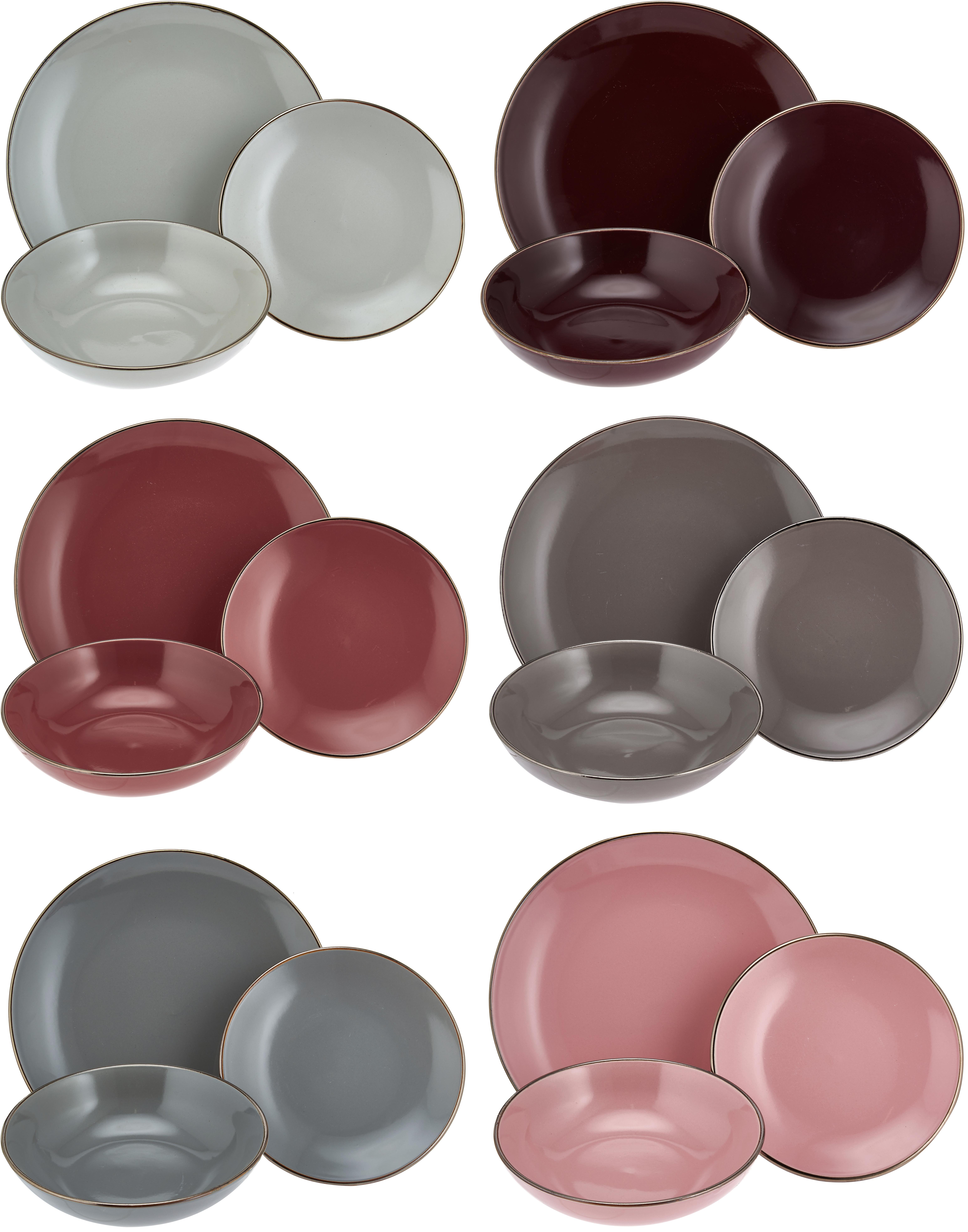Set di piatti Royal Passion 18 pz, Terracotta, Bordeaux, rosso scuro, blu grigio, rosa, grigio chiaro, grigio scuro, Diverse dimensioni
