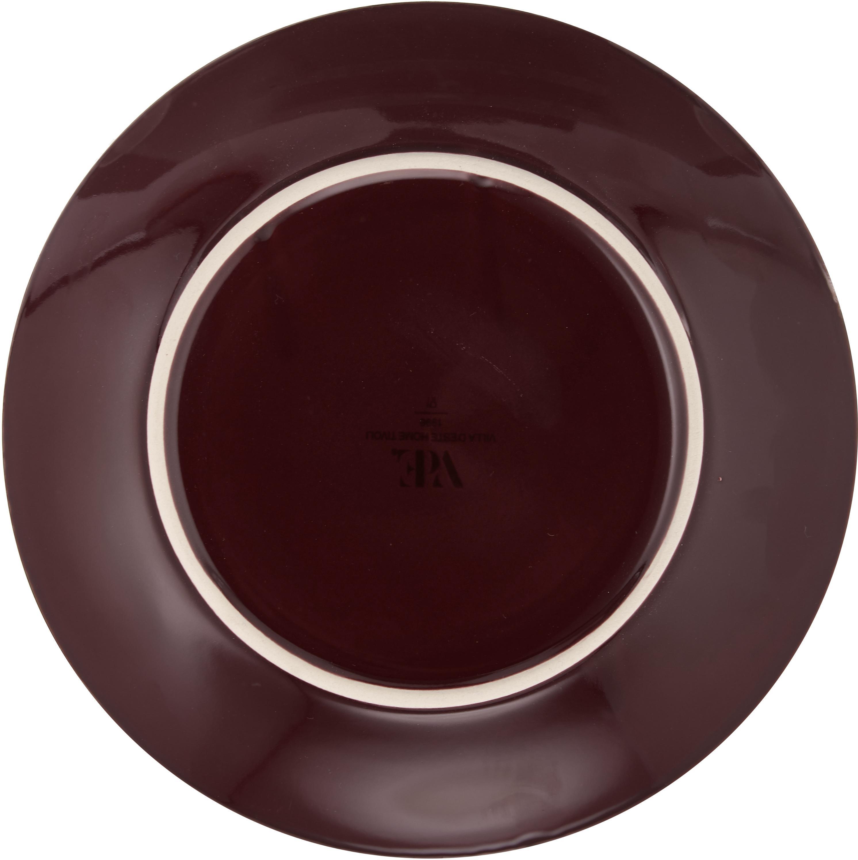 Komplet naczyń Royal Passion, 18elem., Kamionka, Bordowy, ciemny czerwony, szaroniebieski, blady różowy, jasny szary, ciemny szar, Komplet z różnymi rozmiarami