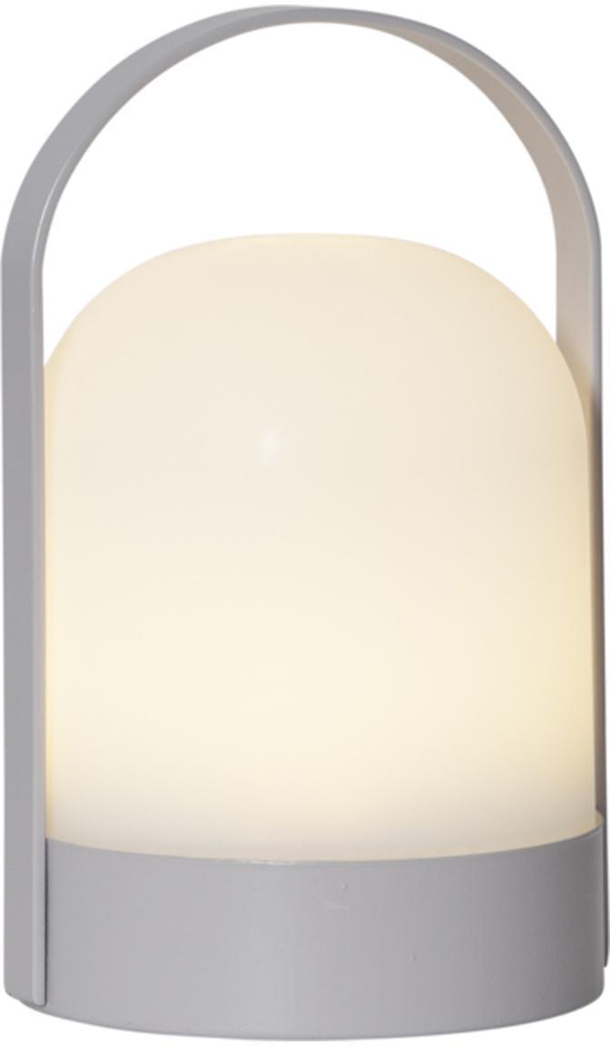 LED Tischleuchte Lette, batteriebetrieben, Lampenschirm: Kunststoff, Weiss, Grau, Ø 14 x H 22 cm