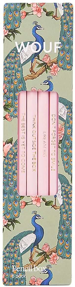 Set 6 matite Royal Forest, Legno, Verde menta, multicolore, rosa, Larg. 18 x Alt. 5 cm