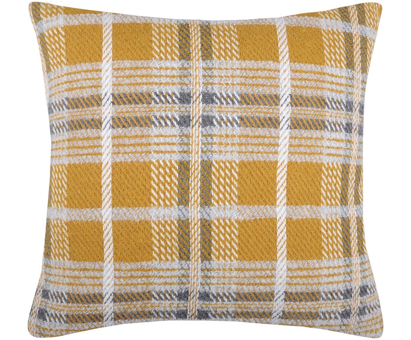 Kussen Arnold met ruitpatroon in mosterdgeel, met vulling, Polyester, Mosterdgeel, wit, grijs, 45 x 45 cm