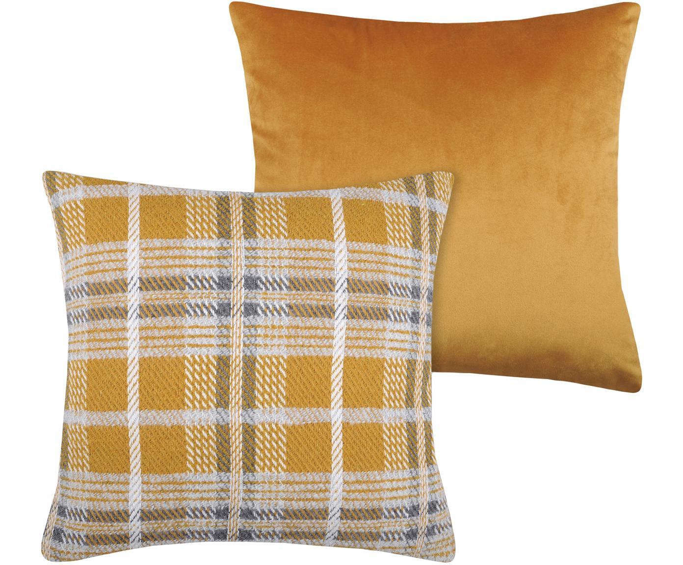 Polštář skárovaným vzorem Arnold, s výplní, Hořčičná žlutá, bílá, šedá