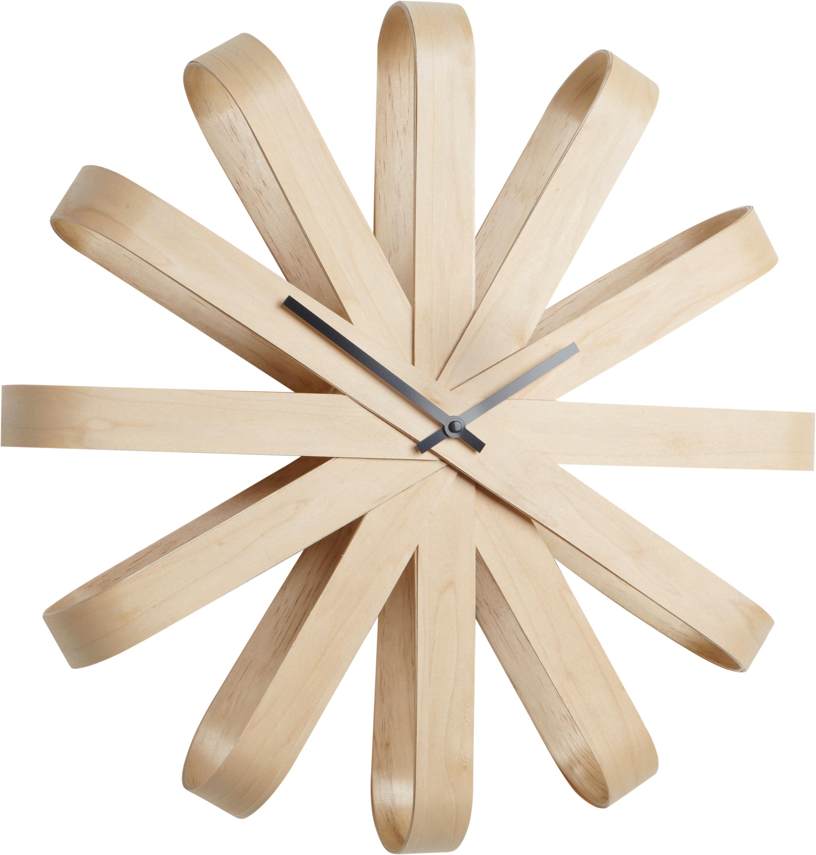 Wandklok Ribbon, Beukenhout, antraciet, Ø 51 cm