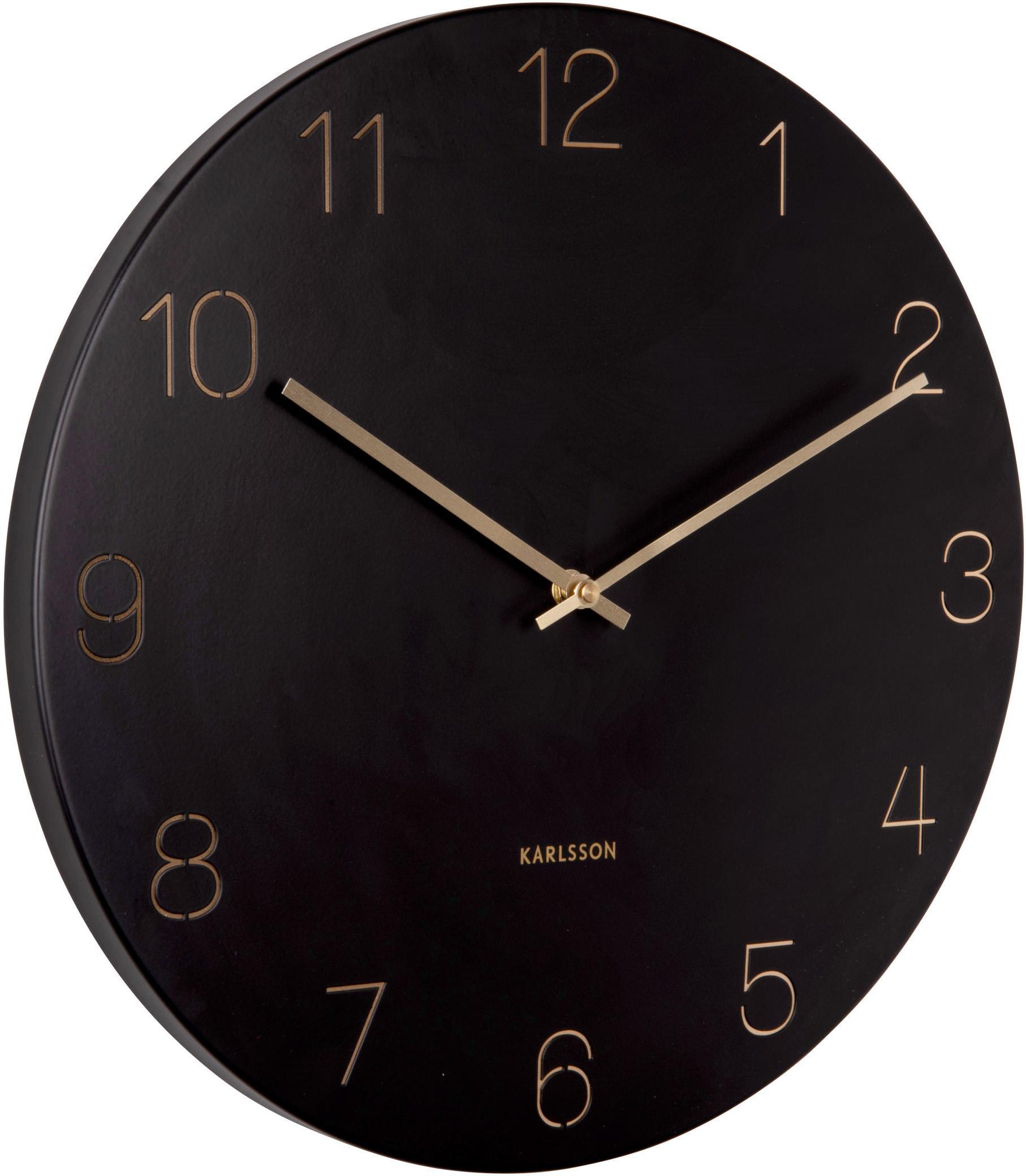 Wanduhr Charm, Metall, beschichtet, Schwarz, Messingfarben, Ø 40 cm