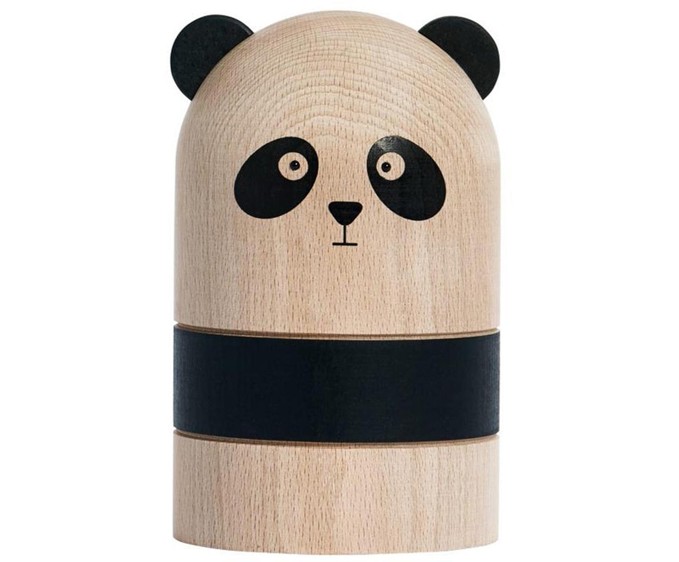 Salvadanaio Panda, Legno di faggio, Legno, nero, Ø 10 x Alt. 15 cm
