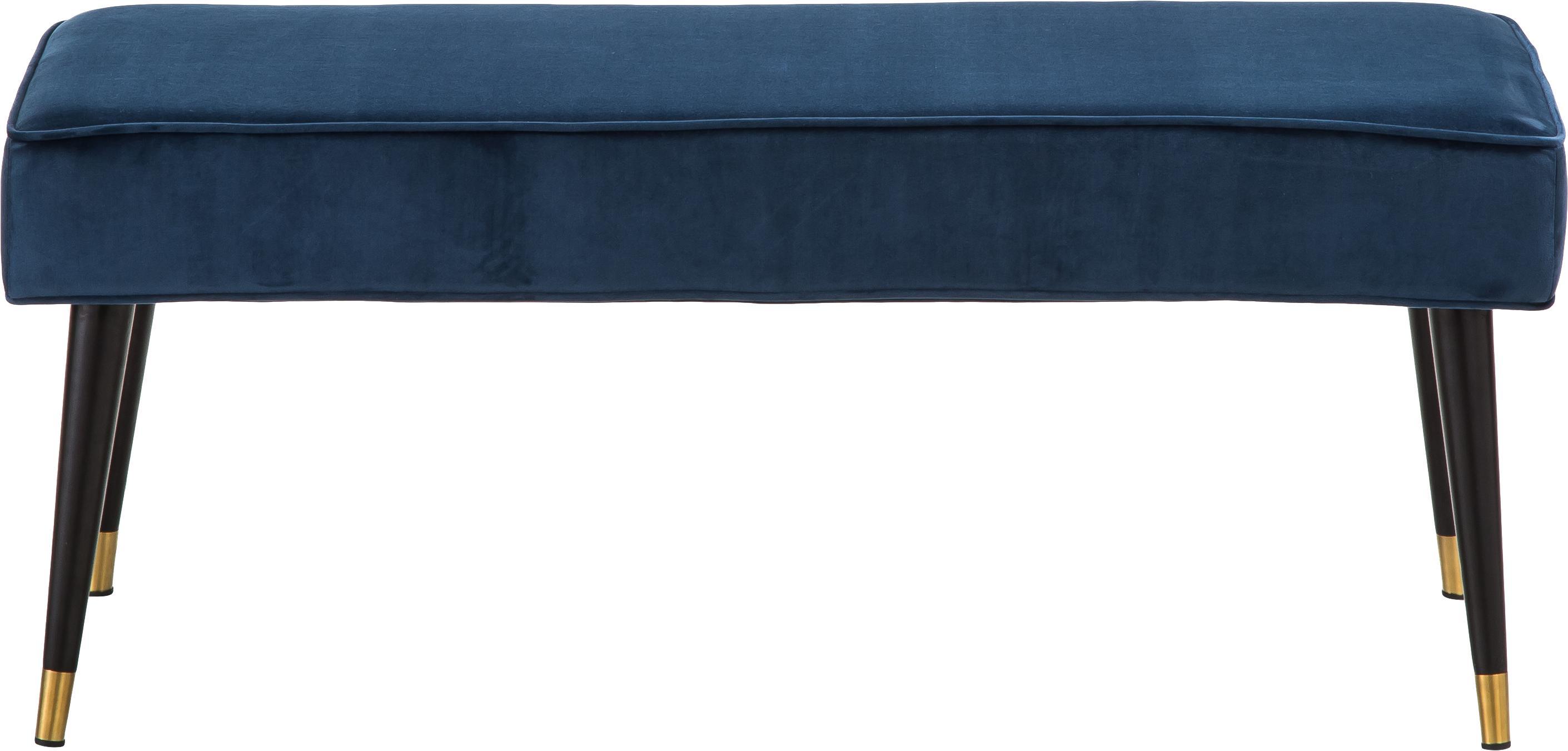 Panca in velluto Beverly, Rivestimento: velluto (poliestere) 50.0, Struttura: legno di eucalipto, Gambe: metallo verniciato a polv, Blu scuro, Larg. 110 x Alt. 46 cm