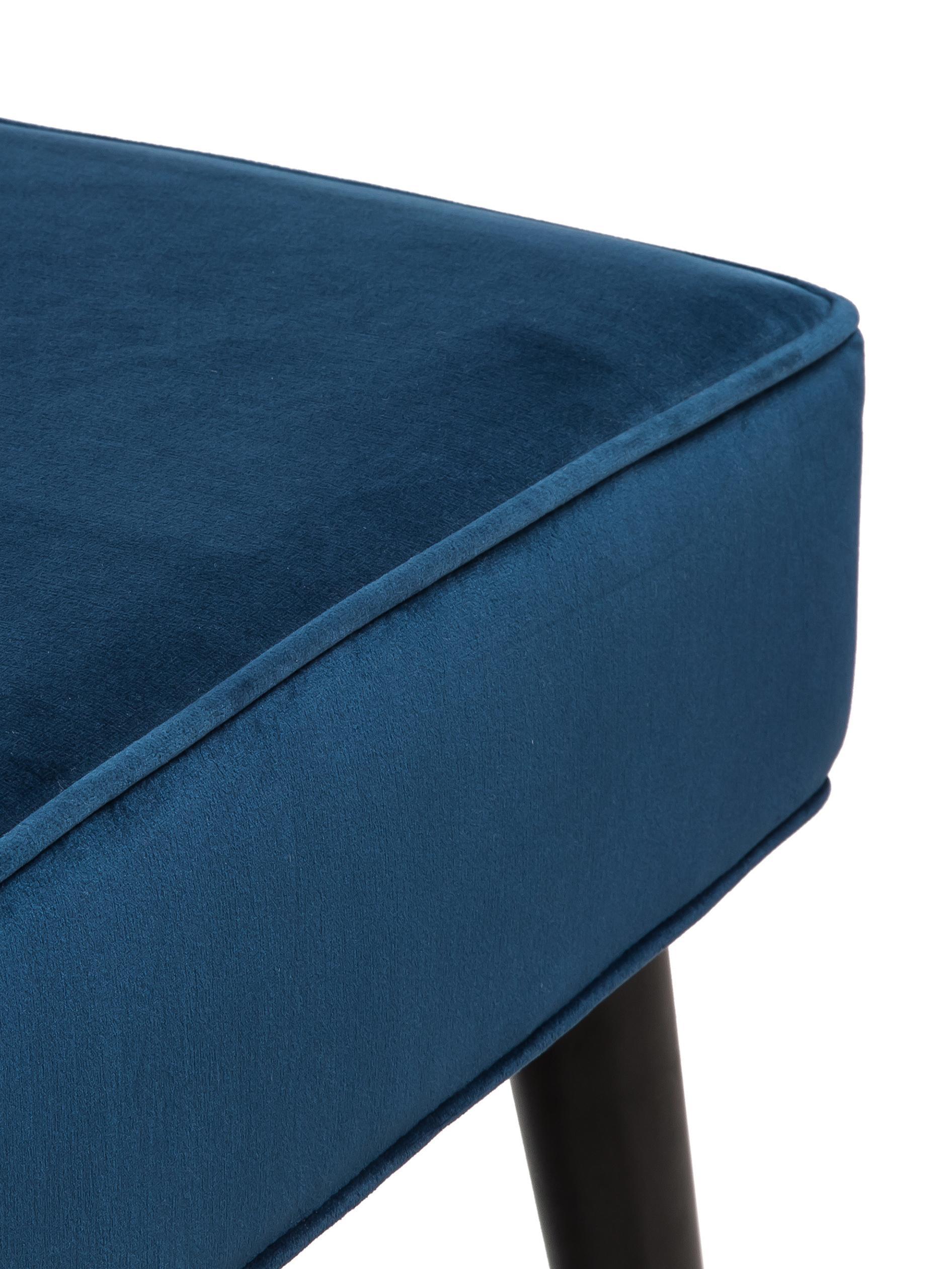 Samt-Sitzbank Beverly, Bezug: Samt (Polyester) 50.000 S, Gestell: Eukalyptusholz, Beine: Metall, pulverbeschichtet, Dunkelblau, B 110 x H 46 cm
