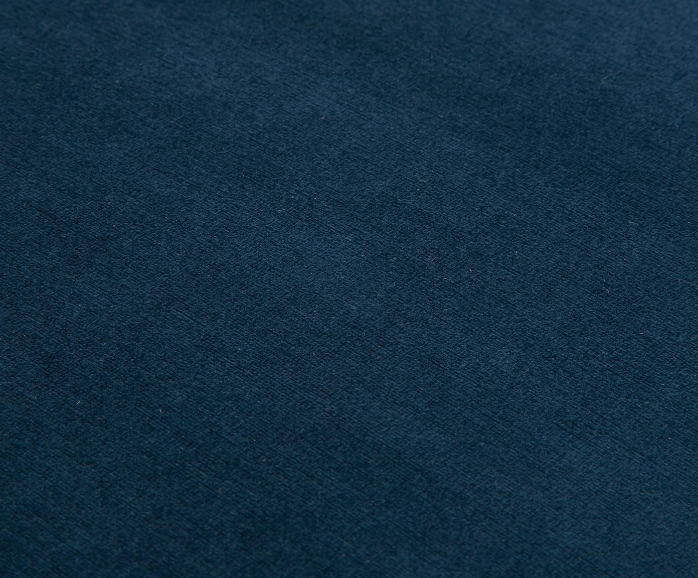 Fluwelen bank Beverly, Bekleding: fluweel (polyester), Frame: eucalyptushout, Poten: gepoedercoat metaal, Donkerblauw, 110 x 46 cm