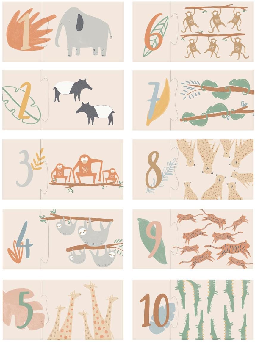 Puzzle Wildlife, Cartón resistente, Multicolor, An 10 x Al 3 cm