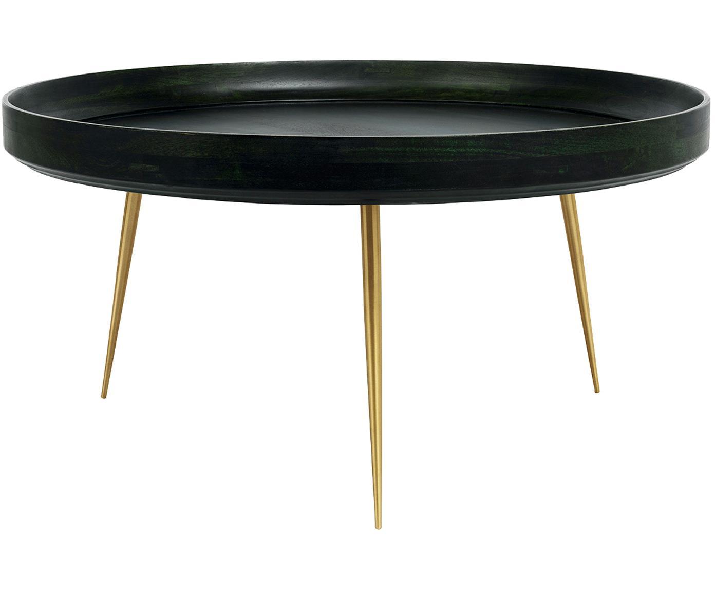 Tavolino da salotto di design Bowl Table, Piano d'appoggio: legno di mango rivestito , Gambe: metallo ottone placcato, Verde nori, colori ottone, Ø 75 x Alt. 38 cm