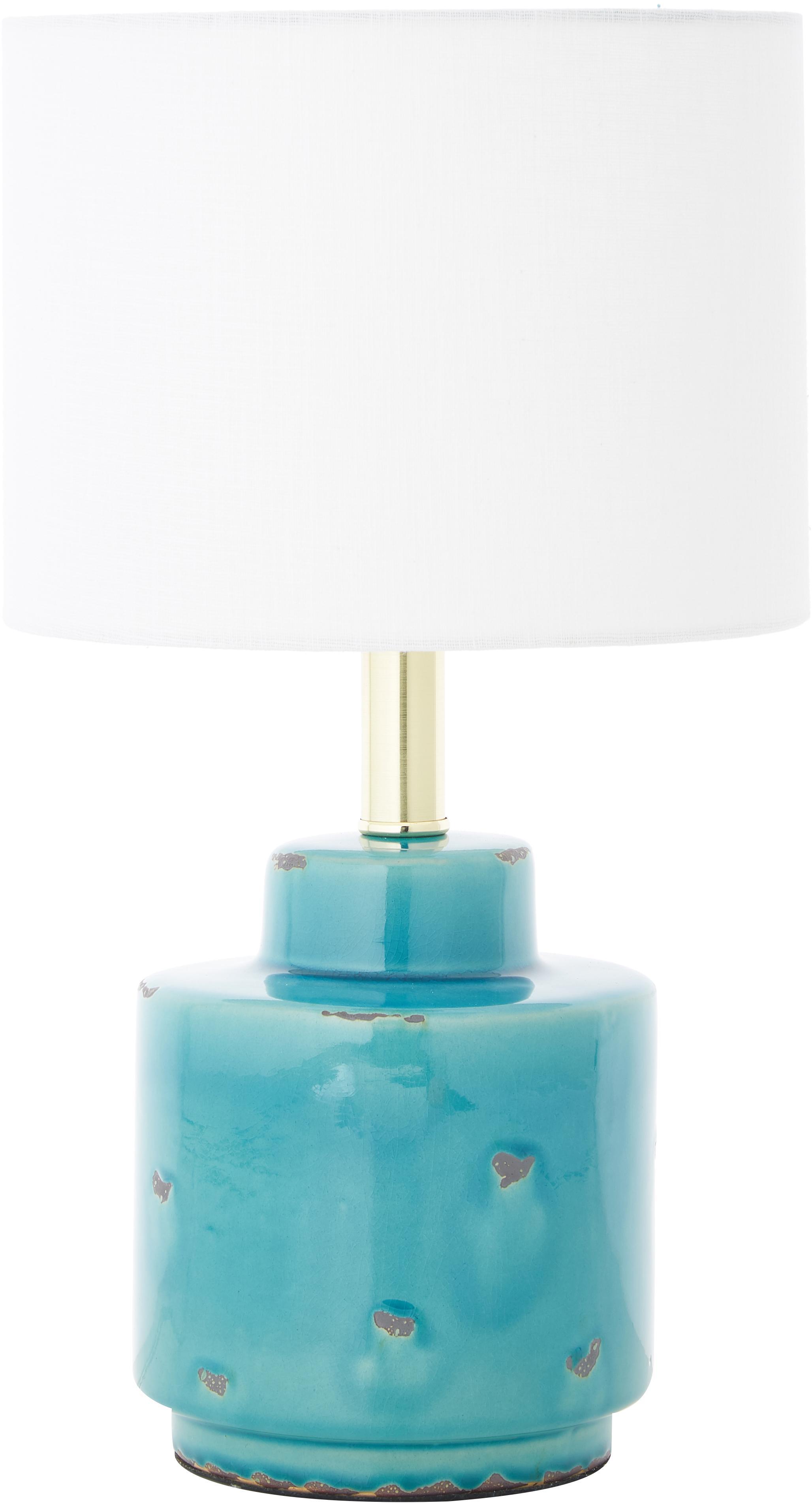 Keramik-Tischlampe Cous mit Antik-Finish, Lampenschirm: Polyester, Lampenschirm: Weiss Lampenfuss: Blau mit Antik-Finish, Ø 24 x H 42 cm