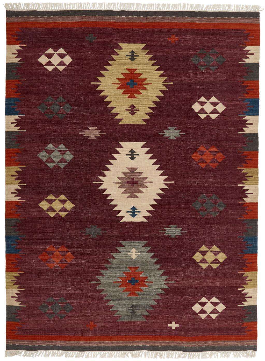 Ręcznie tkany kilim z wełny Kilian, Wełna, Ciemny lila, wielobarwny, S 125 x D 185 cm (Rozmiar S)