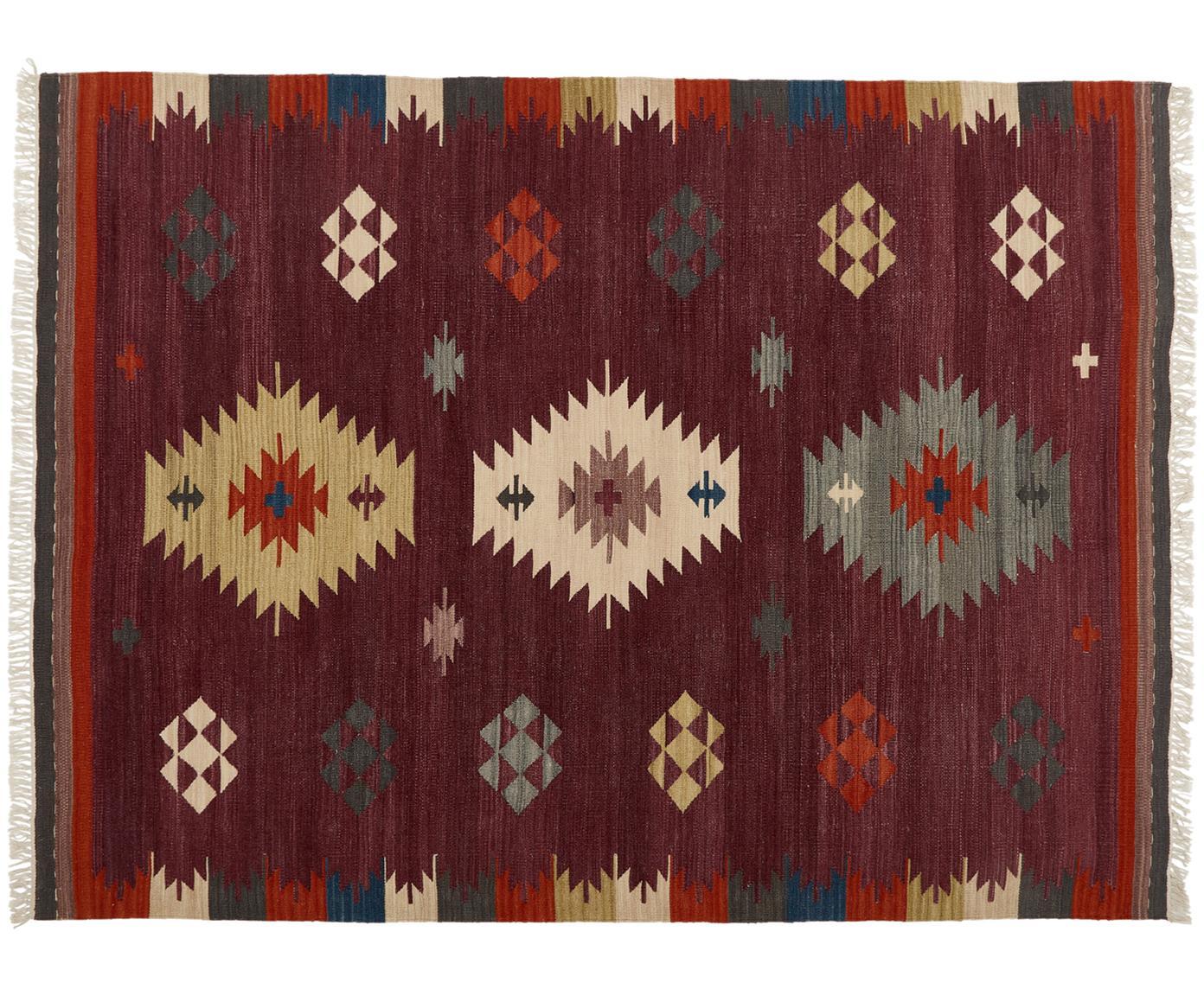 Handgeweven wollen vloerkleed Kilim, Wol, Donker lila, multicolour, 125 x 185 cm