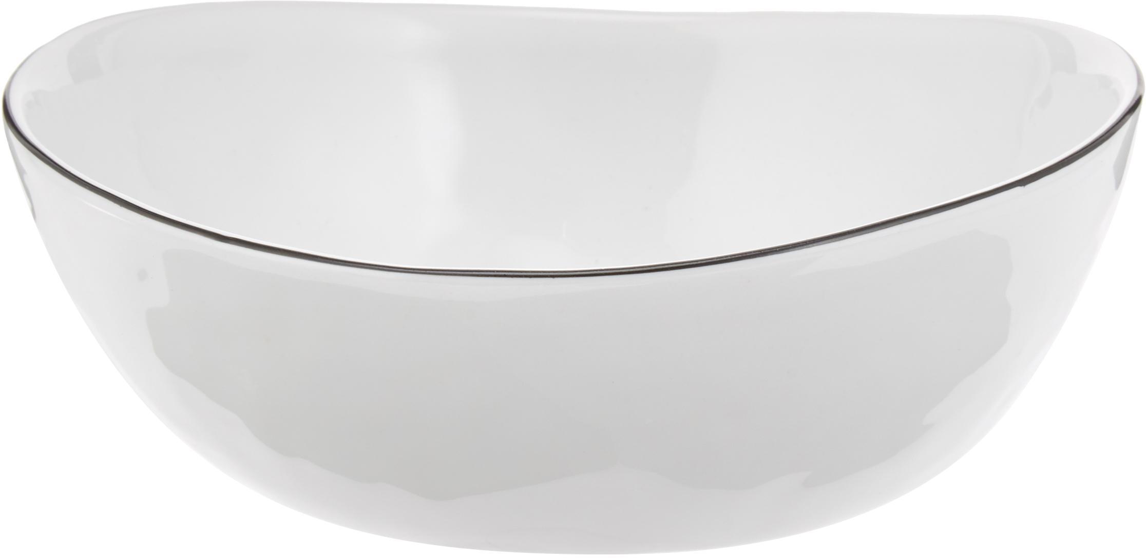 Handgemachte Schälchen Salt Ø 17 cm mit schwarzem Rand, 4 Stück, Porzellan, Gebrochenes Weiß, Schwarz, B 17 x T 15 cm