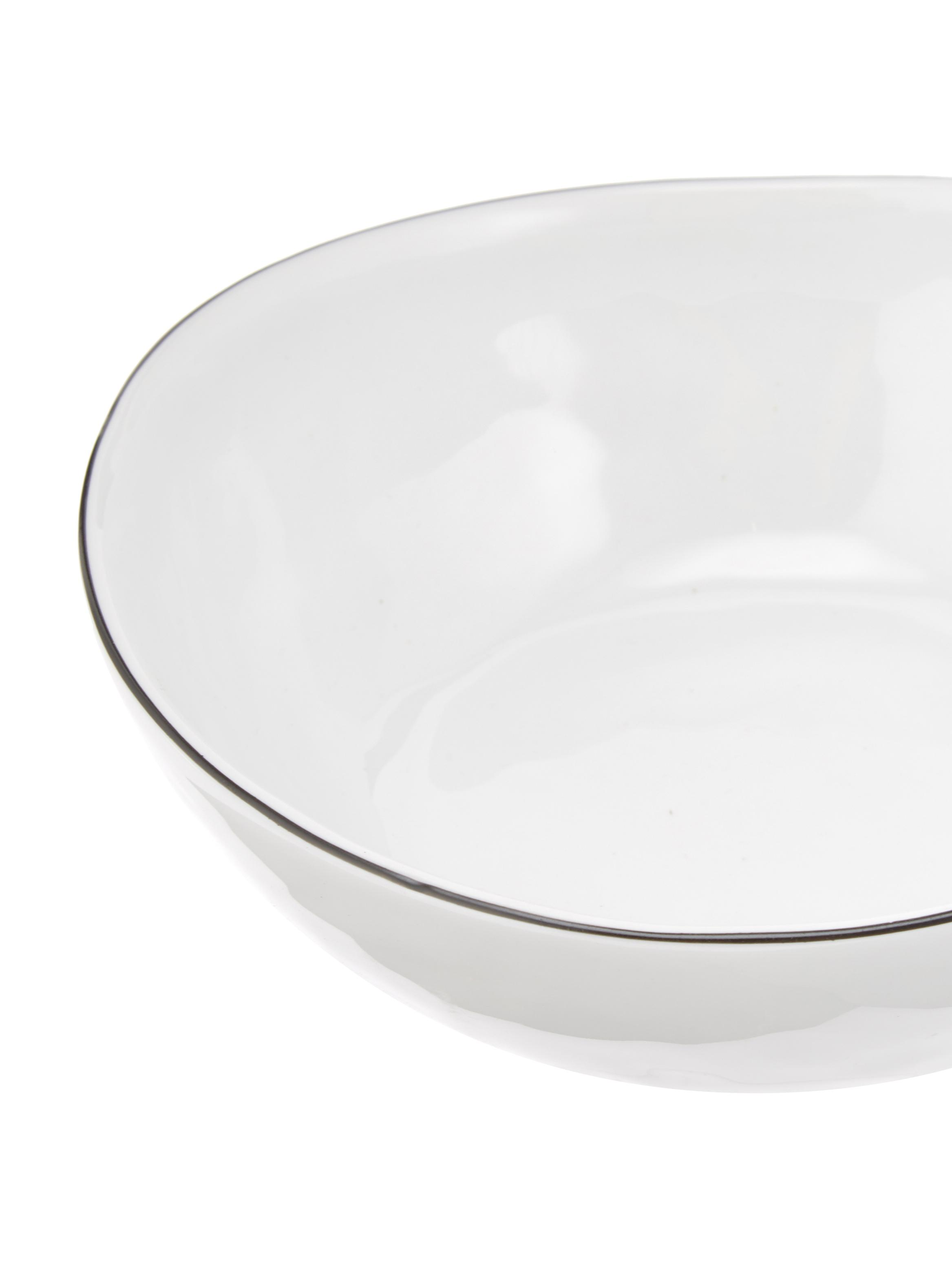 Ciotola fatta a mano con bordo nero Salt 4 pz, Porcellana, Bianco latteo, nero, Larg. 17 x Prof. 15 cm