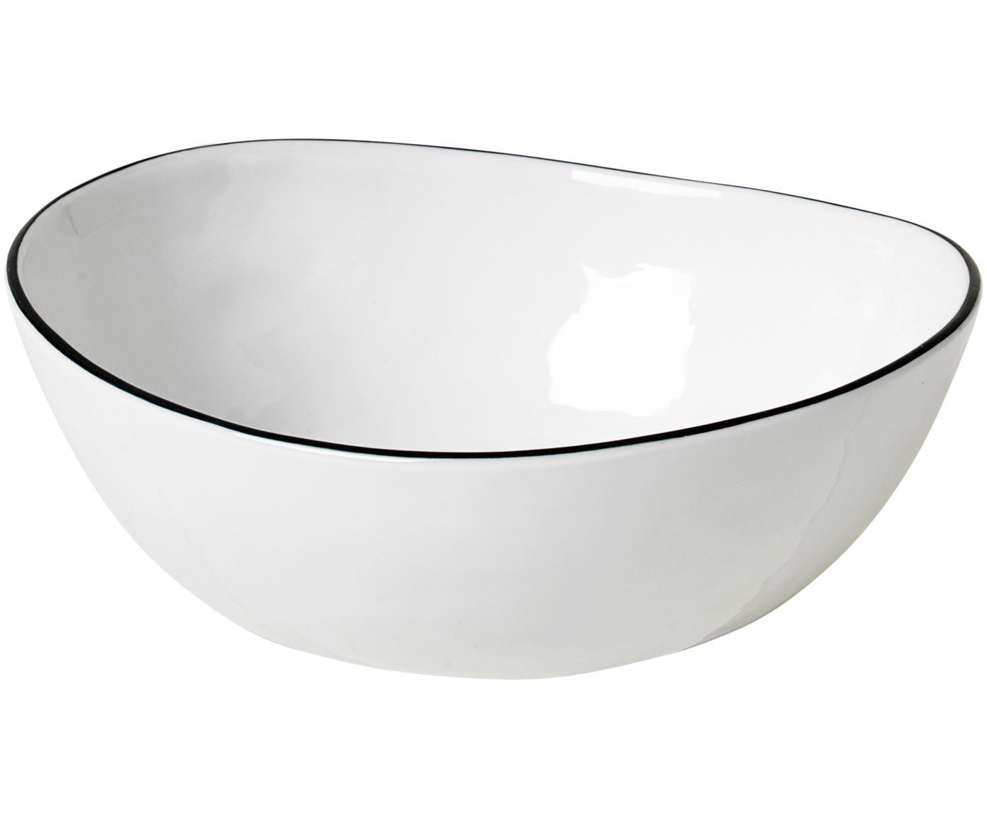 Handgemachte Schälchen Salt mit schwarzem Rand, 4 Stück, Porzellan, Gebrochenes Weiß, Schwarz, B 17 x T 15 cm