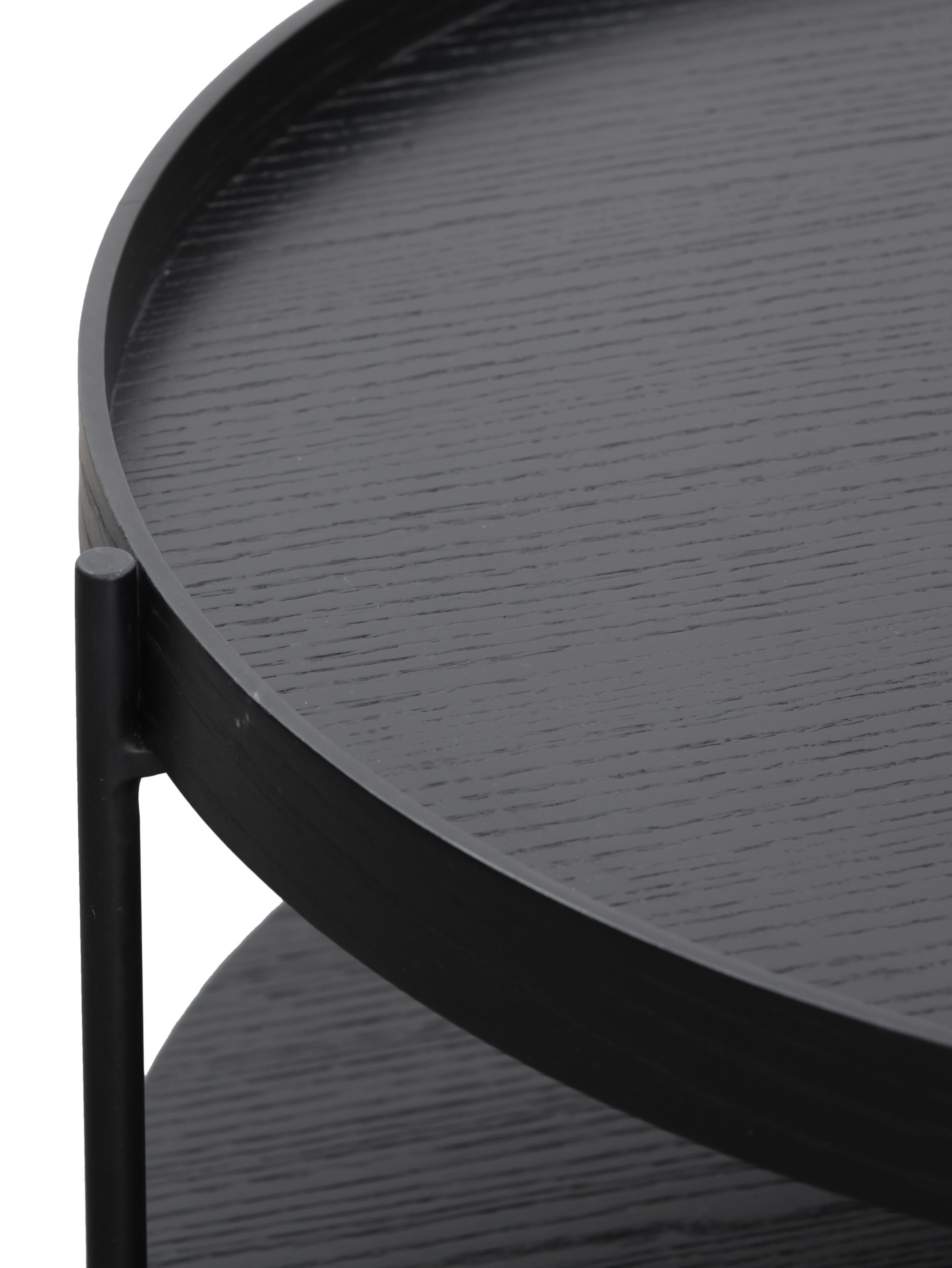 Couchtisch Renee mit Ablagefach, Gestell: Metall, pulverbeschichtet, Tischplatten: SchwarzGestell: Schwarz, matt, Ø 69 x H 39 cm