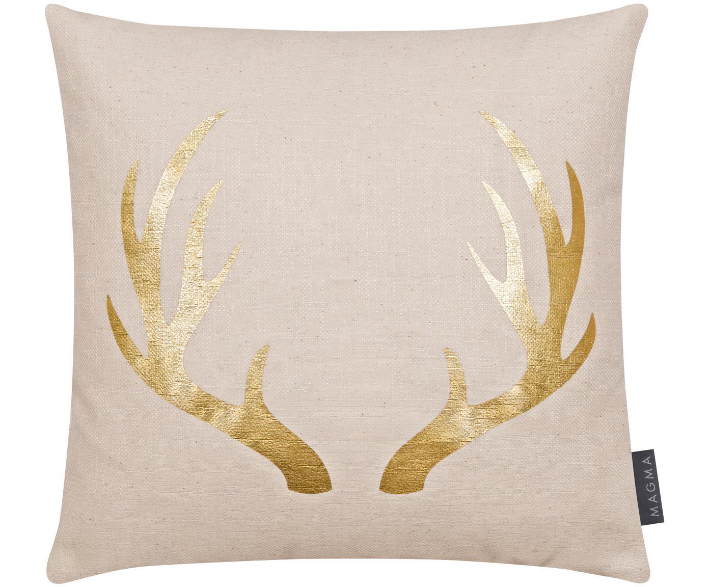 Federa arredo natalizia con motivo di corna Goldwert, 55% cotone, 45% poliestere, Beige, dorato, Larg. 40 x Lung. 40 cm