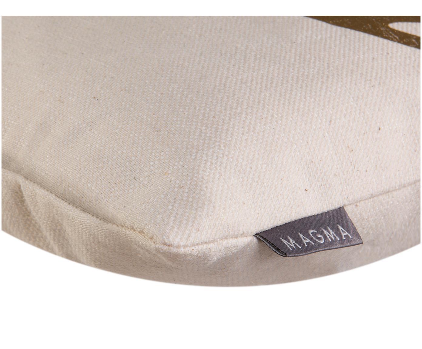 Kissenhülle Goldwert mit glänzendem Geweihmotiv, 55%Baumwolle, 45%Polyester, Beige, Goldfarben, 40 x 40 cm