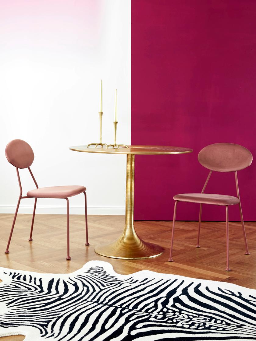 Runder Esstisch Hypnotising in Goldfarben, Aluminium, lackiert, Messingfarben, Ø 92 x H 76 cm
