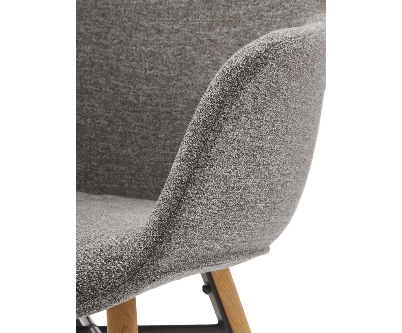 Krzesło z podłokietnikami Fiji, Tapicerka: poliester 40 000 cykli w , Nogi: lite drewno dębowe, Siedzisko: ciemny szary nogi: drewno dębowe, S 59 x G 55 cm