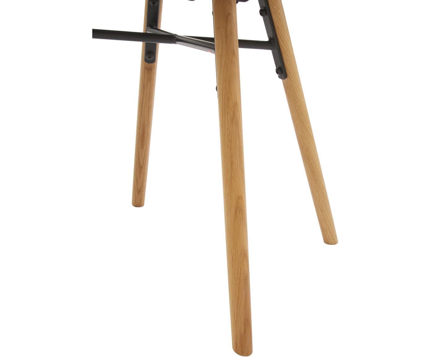 Sedia imbottita con gambe in legno Fiji, Rivestimento: poliestere 40.000 cicli d, Gambe: legno di quercia massicci, Seduta: grigio scuro Gambe: legno di quercia, Larg. 59 x Prof. 55 cm