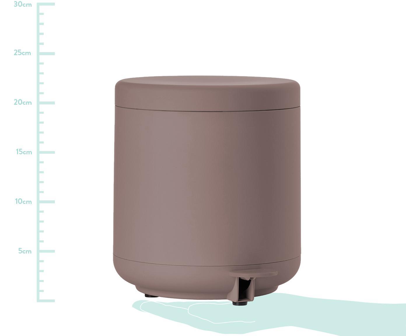 Kosz na śmieci Omega, Tworzywo sztuczne (ABS), Brudny różowy, matowy, Ø 20 x W 22 cm