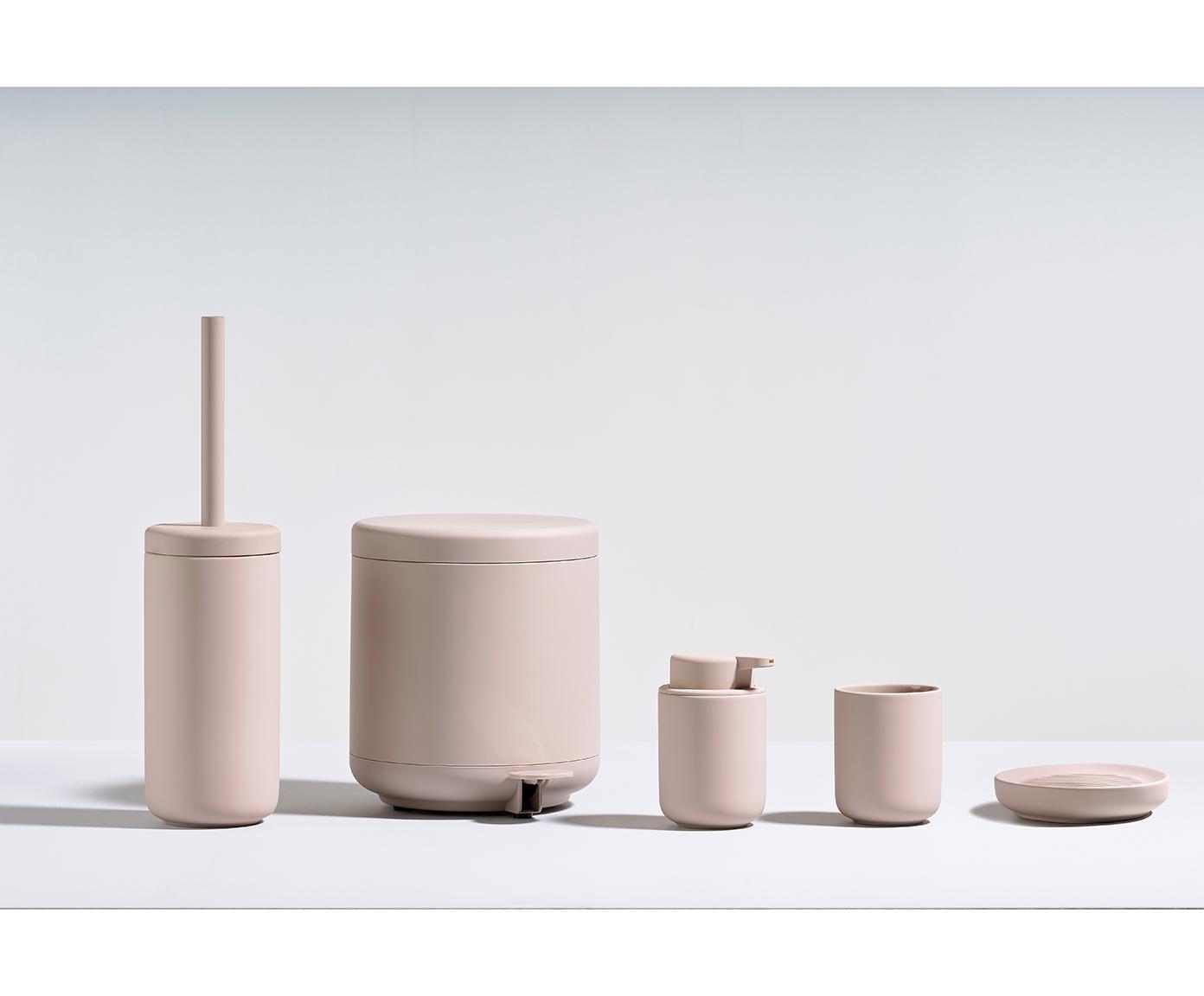 Afvalemmer Omega, Kunststof (ABS), Mat poederroze, Ø 20 x H 22 cm