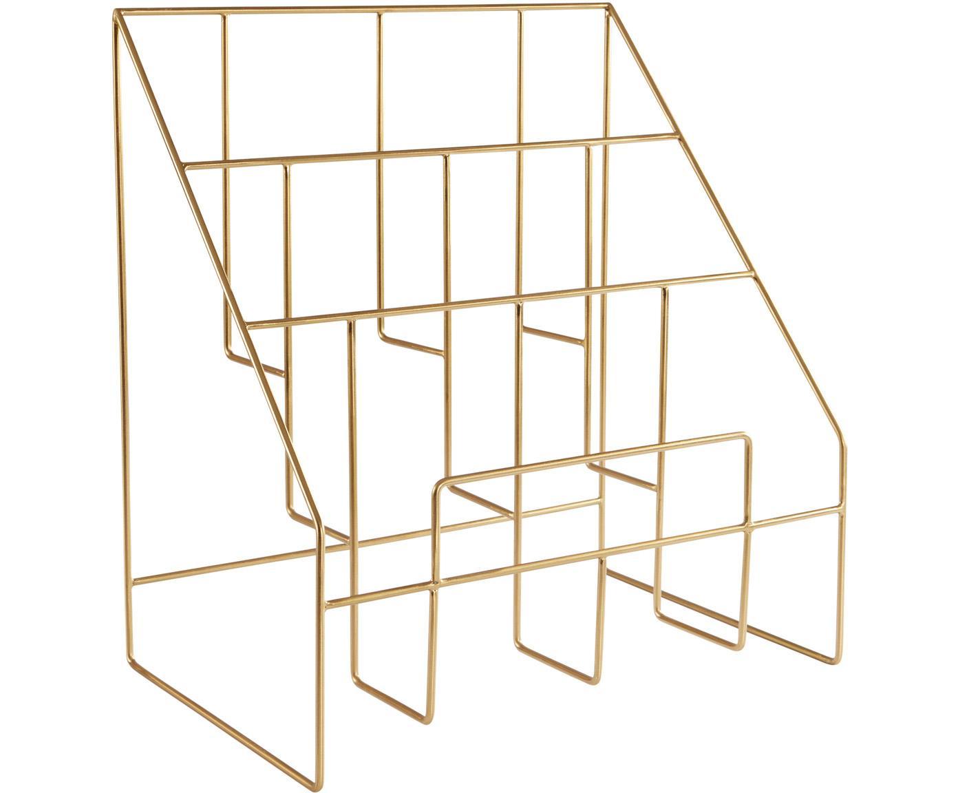 Zeitschriftenhalter Freddy, Metall, lackiert, Goldfarben, 38 x 41 cm