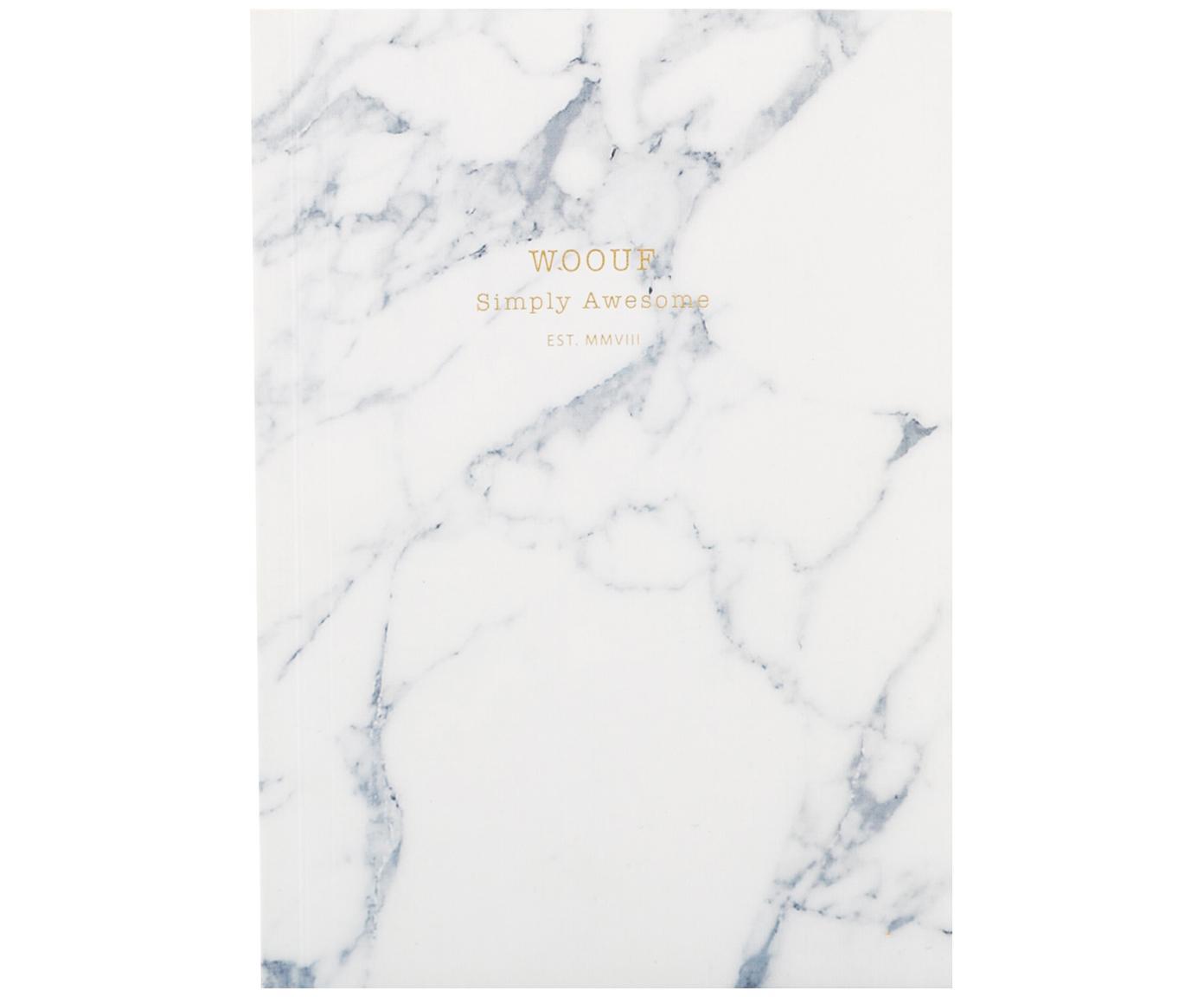 Notizbuch White Marble, Papier, Weiss, 11 x 15 cm