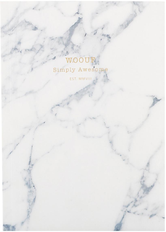 Notizbuch White Marble, Papier, Weiß, 11 x 15 cm