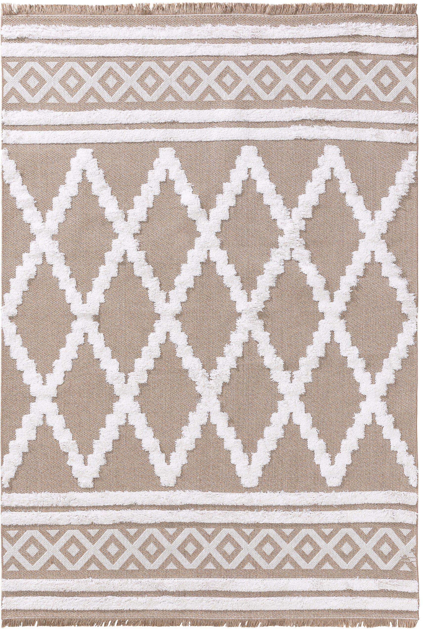 Wasbare katoenen vloerkleed Oslo Karo met hoog-laag-structuurpatroon, 100% katoen, Taupe, crèmewit, B 190 x L 280 cm (maat M)